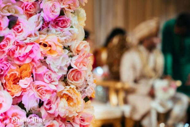 Fresh flowers as Varmala Indian Wedding Ceremony